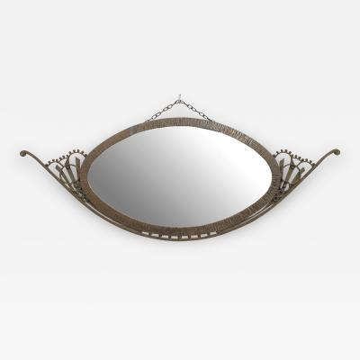 Raymond Subes French Art Deco Wrought Iron Horizontal Oval Wall Mirror