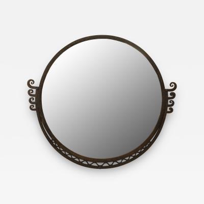 Raymond Subes French Art Deco Wrought Iron Round Wall Mirror