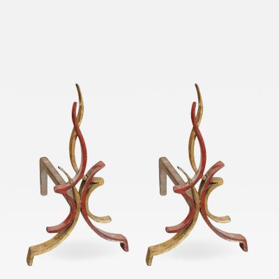 Raymond Subes Pair of 1940s Flamme andirons by Raymond Subes
