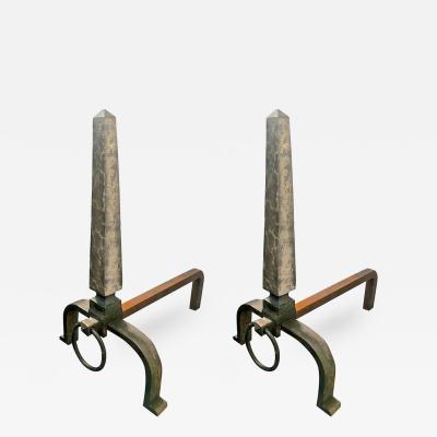Raymond Subes Raymond Subes Pair of Obelisk Wrought Iron Andirons