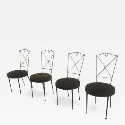 Raymond Subes Raymond Subes Set of 4 Refined 40s Wrought Iron Chairs Newly Covered in Mohair