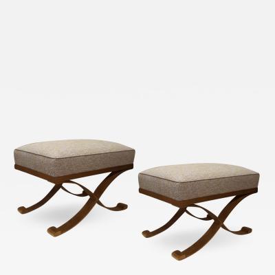Raymond Subes Raymond Subes pair of gold leaf wrought iron stools