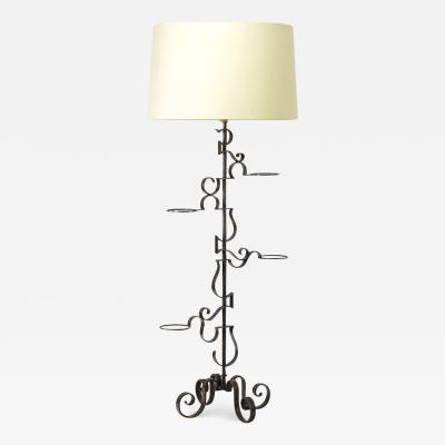 Raymond Subes Raymond Subes spectacular wrought iron planter standing lamp
