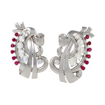 Raymond Yard Raymond Yard Retro Moonstone Ruby Diamond and Platinum Brooches Dress Clips