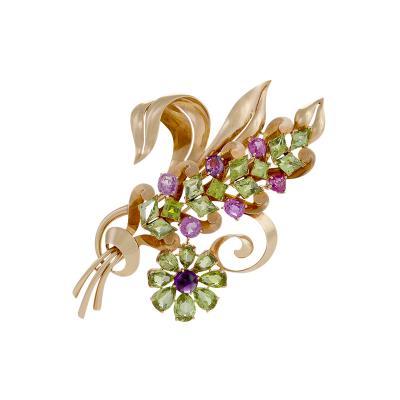 Raymond Yard Raymond Yard Retro Peridot Pink Sapphire Amethyst and Gold Flower Brooch