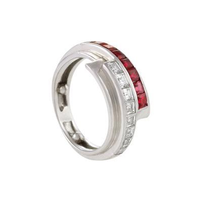 Raymond Yard Retro Diamond Ruby and Platinum Ribbon Ring