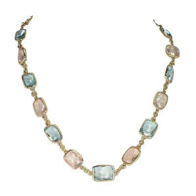 Rectangular Blue Topaz and Rose Quartz Faceted Necklace 18 Karat Fine Necklace