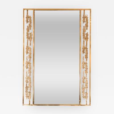 Rectangular Brass Mirror with Brutalist Style Surround