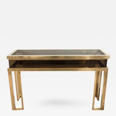 Rectangular Brass and Smoked Glass Console