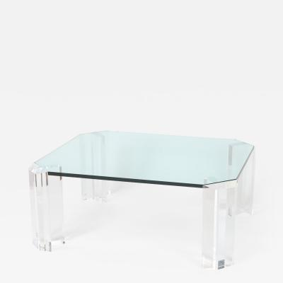 Rectangular Glass Cocktail Table with Clipped Corners and Lucite Supports