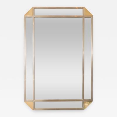 Rectangular Mirror with Decorative Nickel and Mirrored Surround