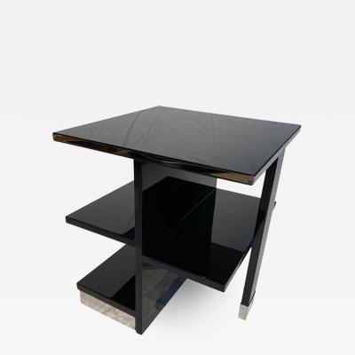 Rectangular Sofa Table Black Lacquer and Nickel France circa 1930
