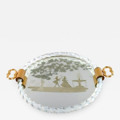 Rectangular tray with mirrored plate floral pattern with galant scene