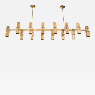 Rectilinear Brass Fourteen Light Chandelier