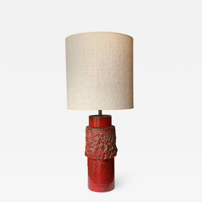 Red Ceramic Table Lamp Italy 1950s