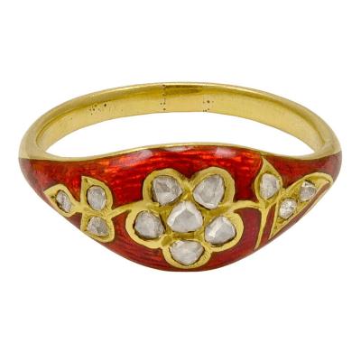 Red Enamel Rose Diamond Ring