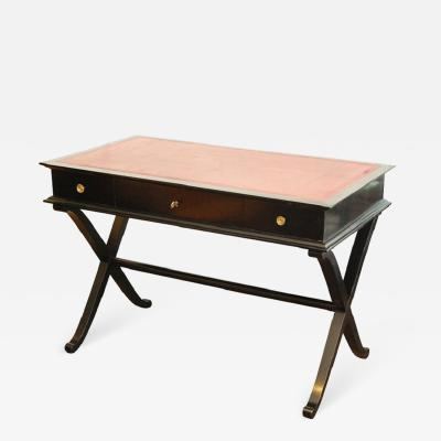 Red Leather and Black Lacquer French Desk or Writing Table