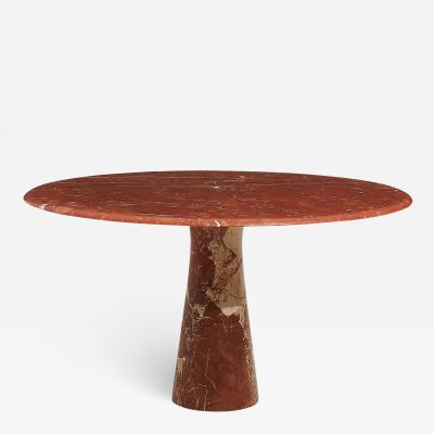 Red Marble Pedestal Dining Table Mario Cecchi 1970 s Italy