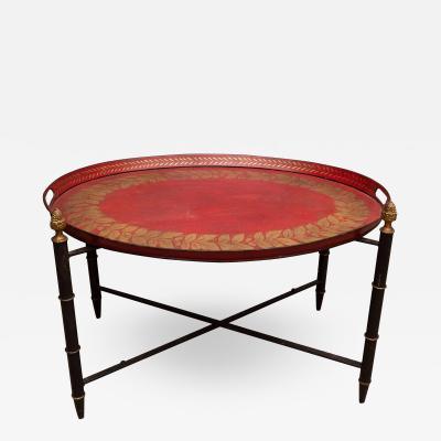 Red Tole Table with Decorative Oval Top and X Frame Base