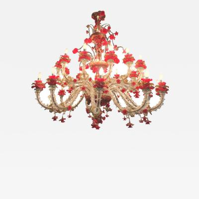 Red and Gold Sumptuous Murano Glass Chandelier 1980s