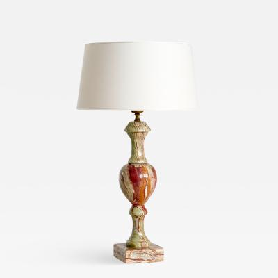Red and Green Onyx Table Lamp with Ivory Shade Italy 1970s
