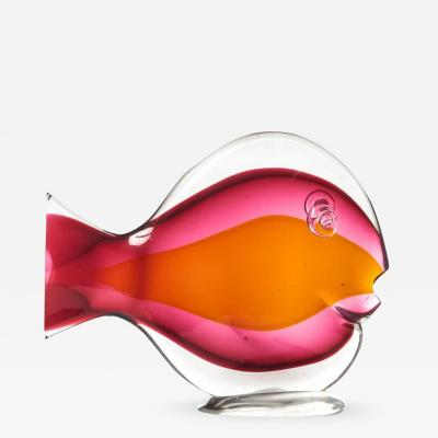 Red and orange glass sommerso sunfish by Murano