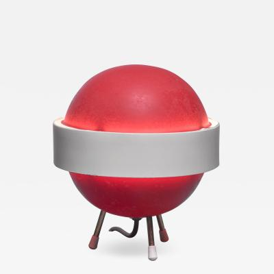 Red and white Stilux table lamp Italy 1950s