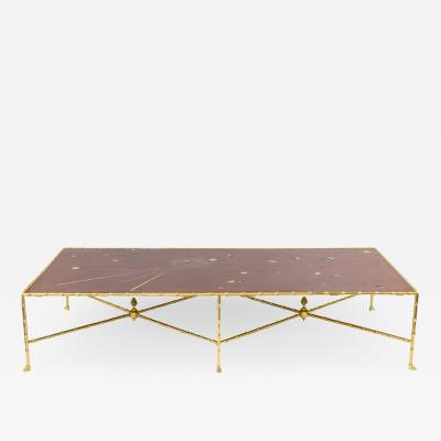Red lacquer coffee table with gilt brass contemporary work
