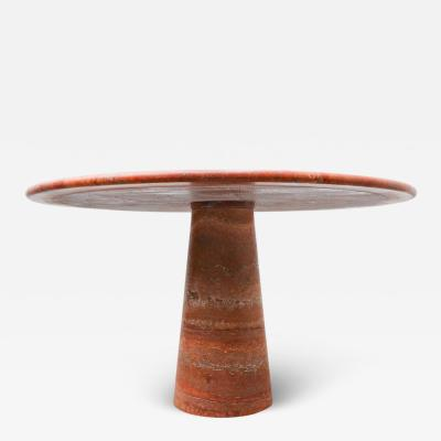 Red travertine dining table in style of Angelo Mangiarotti