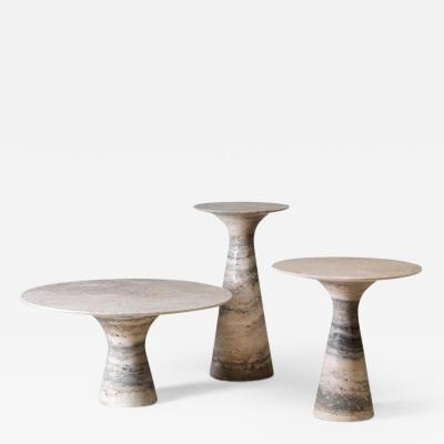 Refined Set of 3 Contemporary Marble Side Tables