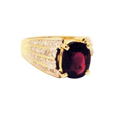 Regal Natural Rubellite Raspberry Tourmaline Diamond Ring 14KT Yellow Gold