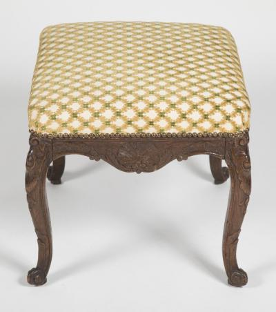 Regence Oak Carved Stool with Nailhead Upholstered Seat