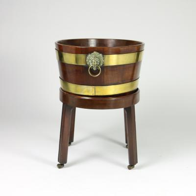 Regency Brass Bound Mahogany Wine Cooler on Later Stand