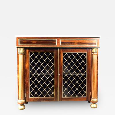 Regency Brass Mounted Rosewood and Parcel Gilt Side Cabinet