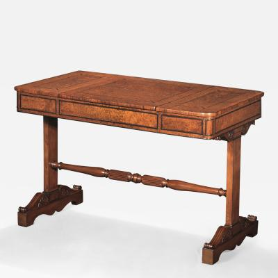 Regency Burled Amboyna Wood Rosewood and Yewwood Sofa Games Table