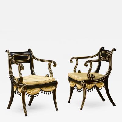 Regency Ebonized Beech Armchairs