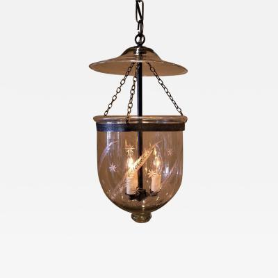 Regency Fern Star Etched Bell Jar Lantern England Circa 1825
