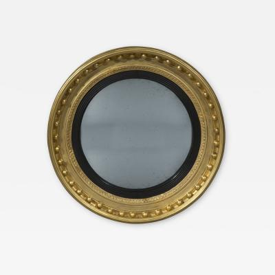 Regency Gilded Convex Round Wall Mirror