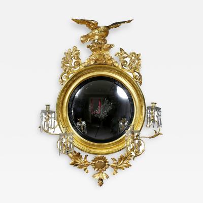 Regency Giltwood Convex Girandole Mirror