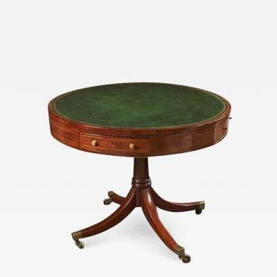 Regency Mahogany Leather Top Drum Table