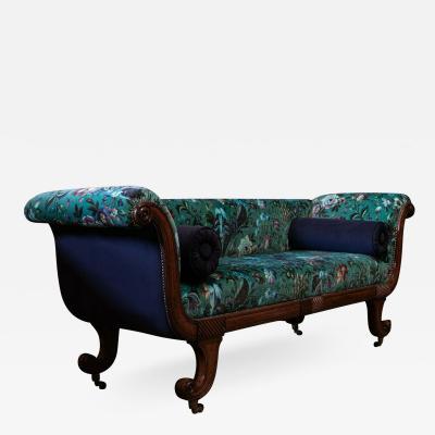 Regency Mahogany Scroll End Sofa