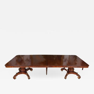 Regency Mahogany and Brass Inlaid Parcel Gilt Dining Table