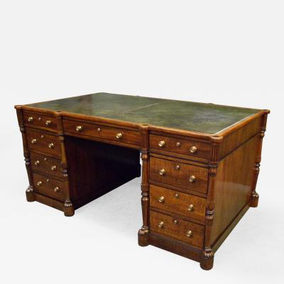 Regency Mahogany and Ebony Inlaid Pedestal Desk