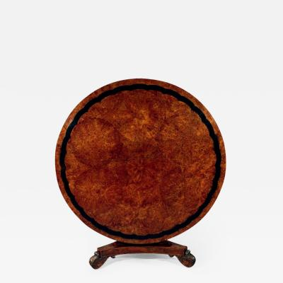 Regency Period Circular Burr Yew Wood Center Table