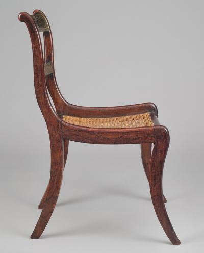 Regency Simulated Rosewood Brass Side Chair