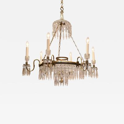 Regency Six Light Brass and Crystal Chandelier Circa 1810 London