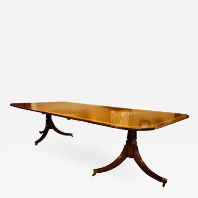 Regency Style Mahogany 2 Pedestal Dining Table