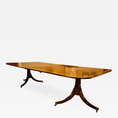 Regency Style Mahogany 2 Pedestal Dining Table Seats 12