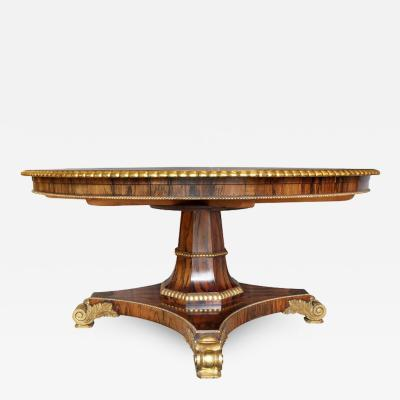 Regency Style Rosewood And Gilded Jupe Capstan Dining Table