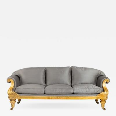 Regency gilt wood three seater sofa